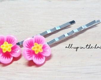 Pink Hibiscus Flower Bobby Pins - Pink Flower Hair Pins
