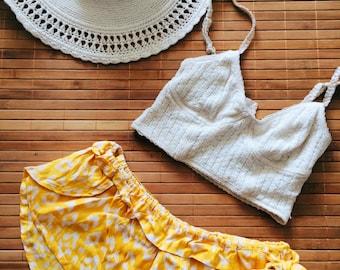 "Yellow Ikat Handmade Bali ""Bare"" Beach Booty Short Short, Low Stretch Waist, Tie, Soft & Lightweight, made of Rayon Sarong"