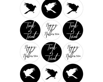 "INSTANT DOWNLOAD - Printable Cupcake Toppers/Party Circles (4 designs) - 2"" - Halloween Party - hand-painted ravens - Costumes & Cocktails"