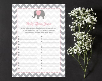 Pink Elephant Baby Name Game, Name Game Race, Gray Chevron Instant Download  Printable227