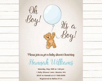 Teddy Bear Baby Shower Invitation Boy, Baby Boy Teddy Bear Balloon Blue Brown Vintage Baby Shower Invitation, Digital JPEG PDF Printable