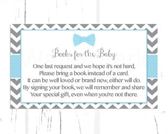 Blue Bow Tie Baby Shower Bring a Book Instead of a Card Insert, Baby Shower Book Request, Instant Download PDF Printable