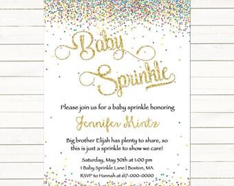 Baby Sprinkle Invitations Girl Boy Gender Neutral, Gold and Confetti Baby Sprinkle Invitation, Baby Boy Baby Girl Sprinkle Printable Digital