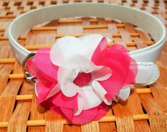 Girls' White and Pink Sheer Fabric Flower Belt, Girls' Flower Belt