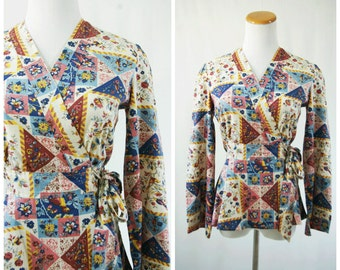 Retro Funky Hippie Wrap Shirt with Bell Sleeves and Bird Patch Print// Boho Bohemian 70's Belted Long Sleeve Blouse