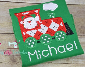 Santa train applique shirt boy girl kid child toddler infant baby custom embroidery monogram name personalized