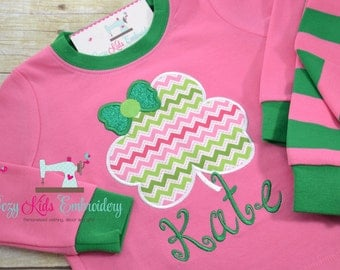 St. Patrick's Day pajamas, St. Patricks day PJs, saint patty pajama, saint patty pj, girl baby pajamas, embroidery appliqué