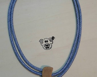 ELECTRO blue white texture necklace