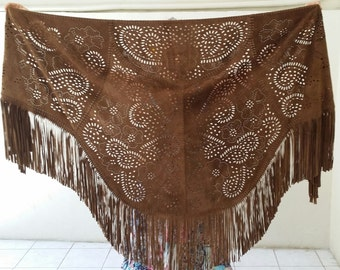 Dark rich brown Suede leather fringed shawl