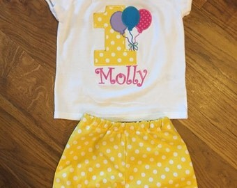 Girls first birthday balloon outfit.