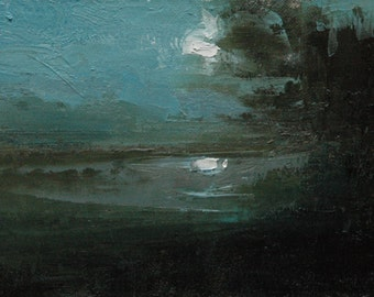 First Moon 6X8 Original tonalist landscape oil painting, Tonalism, Fine art, Plein air, Nocturne paintings