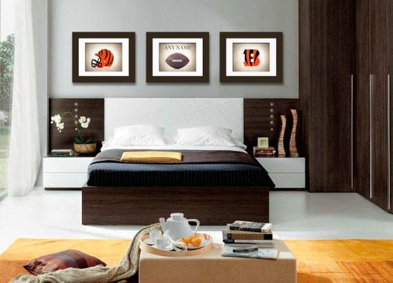 Personalized set of 3 cincinnati bengals photo by ipraystudio for Bengals bedroom ideas