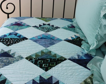 """Beautiful Handmade Patchwork Batik Twin Quilt, Daybed Quilt, Throw Quilt, Generous Lap Quilt, 58"""" x 79"""", """"Sawtooth Mountains"""""""