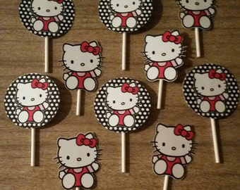 Large Hello Kitty Cupcake Toppers