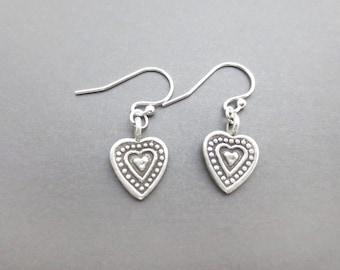 Vintage, Style, Sterling silver, Heart, Silver, Earrings, Lovers, Best friends, Mom, Sister, Gift