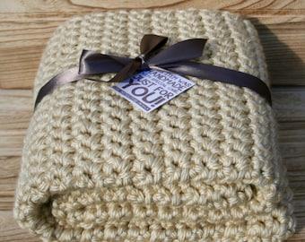 Cream Chunky Crochet Blanket