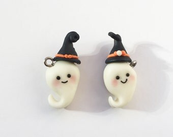 Glow in the Dark Ghosts with a Witch Hat Polymer Clay