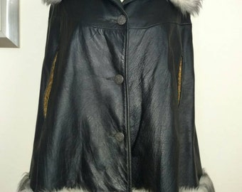 Western Leather Cape Coat by Trego's True Vintage