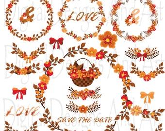 Fall wreath clipart | Etsy