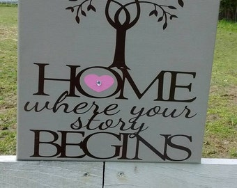 Home is Where your Story Begins - 12x12 Canvas