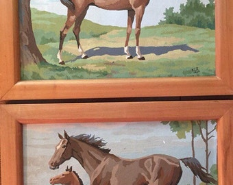 Vintage paint by number horses - gorgeous