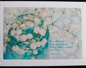 Keep in perfect peace, blank note card 5 x 7