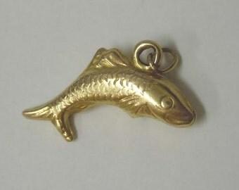 Vintage 14Kt Gold Fish 14k 1980s Pendant Charm