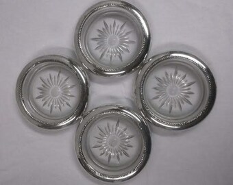 Four beautiful Vintage Collectible Sterling Silver Beverage Coasters