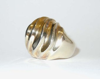 Patricia von Musulin 925 Sterling Vermeil Sculpted Runway Fashion Ring SZ 7