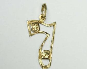 14Kt Gold Lucky 7 Dice Diamond Cut Pendant Charm