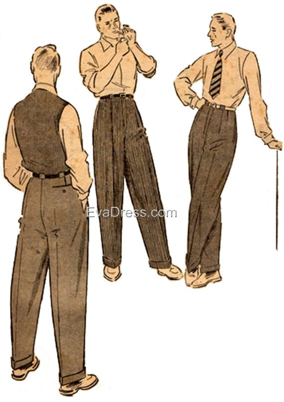Men's Vintage Reproduction Sewing Patterns 1950 Mens Trousers Pattern by EvaDress  AT vintagedancer.com