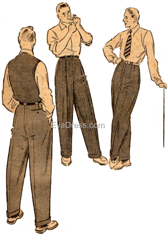 1950s Men's Clothing 1950 Trousers Pattern by EvaDress  AT vintagedancer.com
