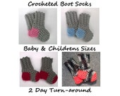 Baby socks- Crocheted thick boot socks- Newborn to 8 years old- You choose colors- FREE SHIPPING