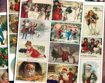 Traditional vintage Christmas card images for decopage and craft projects