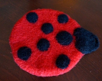 Felted Ladybug Pot Holder - Crocheted and Felted Wool Pot Holder