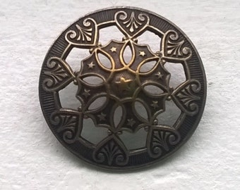 Victorian Ornate Pressed and Domed Brass Jacket Button 28mm #95