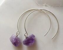 Raw Amethyst Earrings / Sterling Silver Amethyst Earrings / Threader Earrings