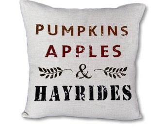 Fall pillow cover on Canvas - Pumpkins Apples Hayrides
