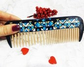 Wooden Comb for men, Hair brush, Beard comb, beard care, Wooden brush, Hair care comb Brush Wood brush Boyfriend Personalized gift blue comb