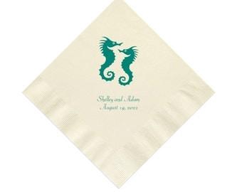 Seahorse Wedding Napkins Personalized Set of 100 Napkins Sea Horse Nautical Beach Weddings