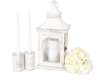 Rustic Heart Wedding Unity Candle Holder Lantern Set for Country Wedding Personalized