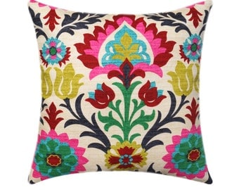 Waverly Santa Maria Desert Flower Pillow Cover, Floral Throw Pillow, Hot Pink Accent Pillow, Red Black Turquoise Pillow Cover, Hidden Zipper