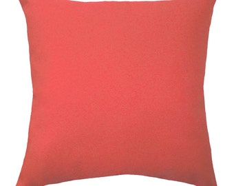 Coral Pillows - Solid Coral Decorative Pillow Covers - Coral Cushion Covers - Coral Throw Pillows - Coral Pillow - Solid Coral Accent Pillow
