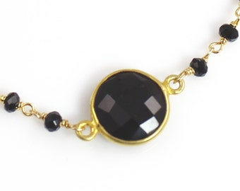 Delicate Black Spinel Gemstone Bracelet with Black Spinel and Vermeil Chain
