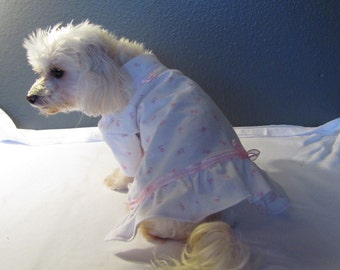 New White with Mini Pink Posy Nightgown Pajamas PJ's Dog Puppy Pet Clothes S - Small