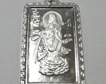 Guanyin Guan Kuan Goddess Buddha 999 fine Silver Rectangle Meditation Pendant charm