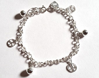 Peace Sign & Ball Bell Dangling 925 Sterling Silver Charms Girls Bracelet