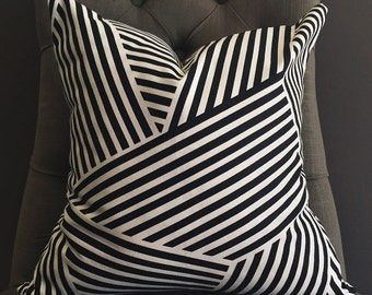 Pillow Cover, Black and White Pillow Cover, GEORGIA