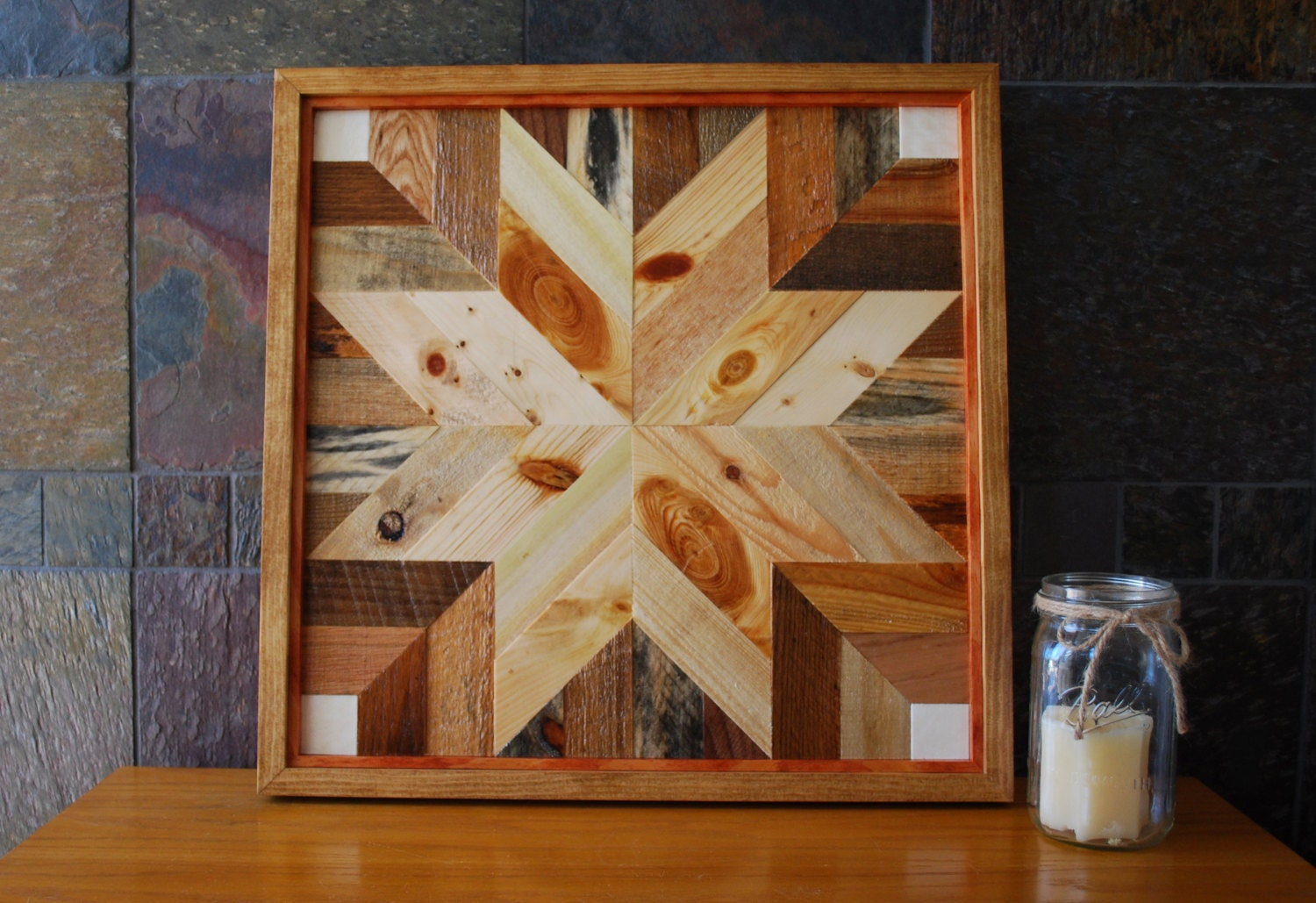Quilt Star Wood Wall Art Amish Style Rustic Wall Decor Wood