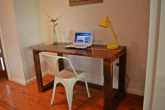 Items similar to Recycled Timber rustic hoop leg desk